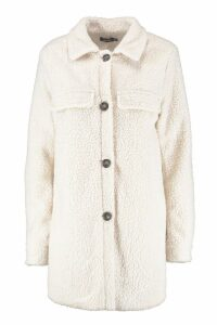 Womens Teddy Faux Fur Button Up Coat - white - 14, White