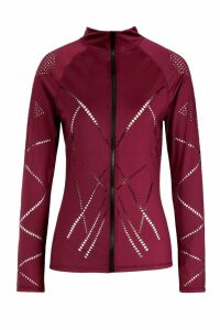 Womens Fit Laser Cut Zip Up Gym Jacket - red - 10, Red