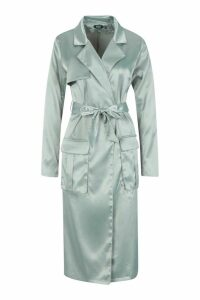 Womens Satin Utility Belted Trench Coat - green - 12, Green
