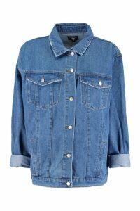 Womens Oversized Trucker Denim Jacket - blue - XS, Blue