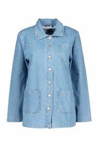 Womens Utility Pocket Denim Shirt Jacket - blue - 8, Blue