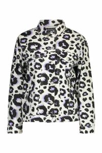 Womens Leopard Print Trucker Denim Jacket - cream - 12, Cream