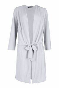 Womens Ruched Duster Coat - grey - M/L, Grey