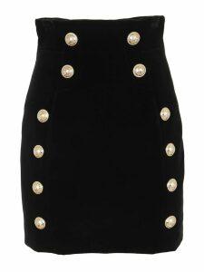 Balmain Short 12 Btn Velvet Skirt