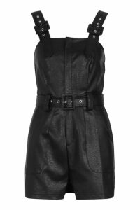 Womens PU Leather Look Belted Pinafore Playsuit - black - 12, Black