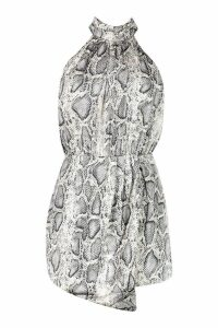 Womens Snake Print Satin roll/polo neck Playsuit - grey - 8, Grey