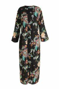 Womens Plus Paisley Floral Longline Kimono - black - 18, Black