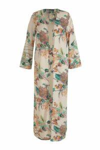 Womens Plus Paisley Floral Longline Kimono - white - 20, White