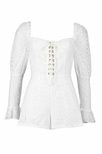 Womens Broderie Eyelet Lace Up Playsuit - white - 8, White