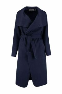 Womens Belted Shawl Collar Coat - navy - One Size, Navy