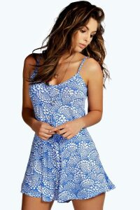 Womens Blue Print Swing Playsuit - 8, Blue