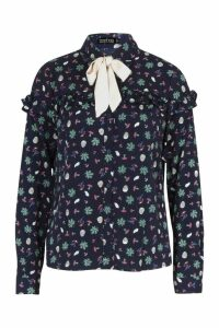 Womens Floral Tie Collar Blouse - navy - S, Navy