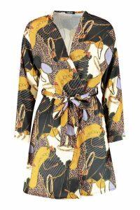 Womens Satin Belted Chain Print Kimono - black - S, Black