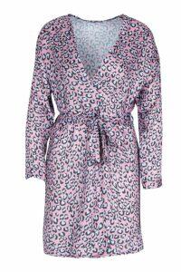 Womens Leopard Print Wrap Kimono - Pink - M, Pink