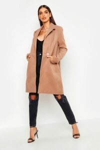 Womens Zip Pocket Tailored Coat - beige - 14, Beige