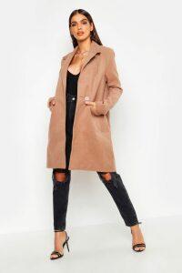 Womens Zip Pocket Tailored Coat - beige - 10, Beige