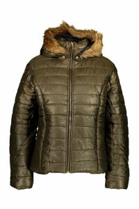 Womens Faux Fur Hooded Cire Panelled Jacket - green - M, Green