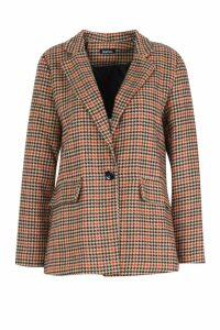 Womens Heritage Check Wool Look Coat - brown - 14, Brown