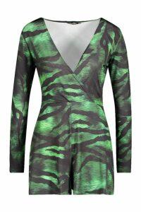 Womens Slinky Tiger Print Wrap Playsuit - green - 8, Green