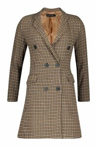 Womens Dogtooth Double Breasted Tailored Coat - brown - 10, Brown