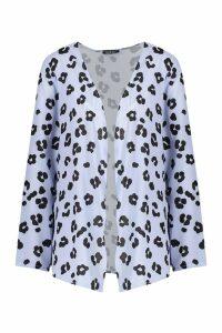 Womens Leopard Print Kimono - blue - S, Blue