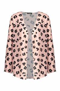 Womens Leopard Print Kimono - Pink - L, Pink