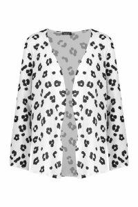 Womens Leopard Print Kimono - white - S, White
