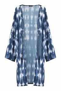 Womens Longline Tie Dye Kimono - blue - M, Blue