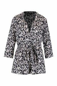 Womens Leopard Tie Waist Playsuit - grey - 16, Grey