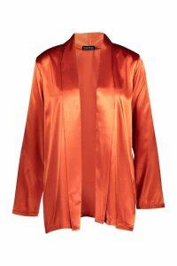 Womens Satin Kimono - Orange - S, Orange