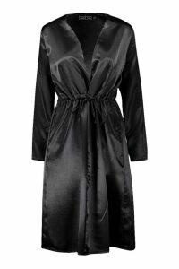 Womens Satin Tie Waist Kimono - black - S, Black