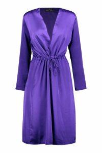 Womens Satin Tie Waist Kimono - purple - M, Purple