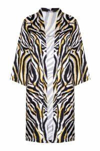 Womens Zebra Print Kimono - yellow - S, Yellow