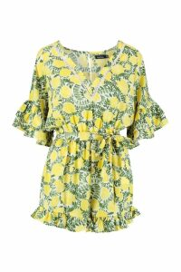 Womens Ruffle Detail Floral Tie Waist Playsuit - yellow - 16, Yellow