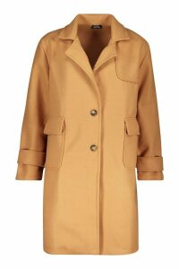 Womens Pocket Detail Utility Wool Look Coat - beige - 12, Beige