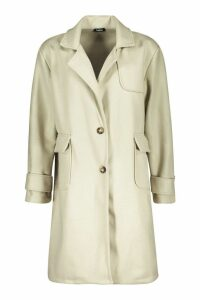 Womens Pocket Detail Utility Wool Look Coat - green - 10, Green