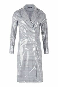 Womens Patent Check Trench Coat - grey - M, Grey