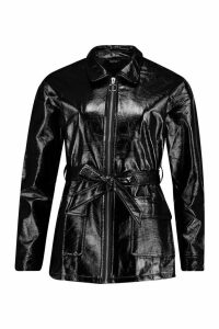 Womens Patent Belted Faux Leather Jacket - black - 12, Black