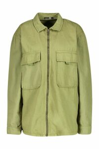 Womens Zip Front Pocket Denim Jacket - green - 8, Green