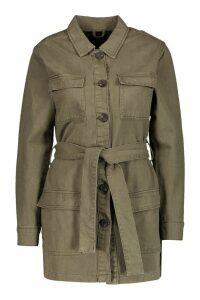 Womens Belted Utility Pocket Denim Jacket - green - 16, Green