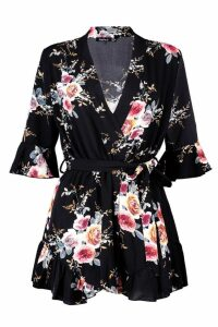 Womens Wrap Floral Ruffle Hem Playsuit - black - 16, Black