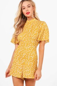 Womens Polka Dot Flute Sleeve Playsuit - yellow - 16, Yellow