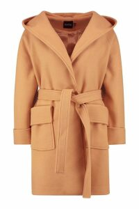 Womens Belted Hooded Coat - beige - 8, Beige