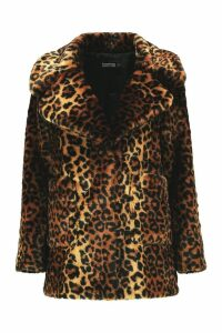 Womens Leopard Faux Fur Coat - multi - 16, Multi