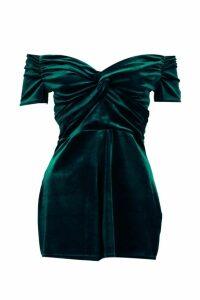 Womens Velvet Off The Shoulder Playsuit - green - 10, Green