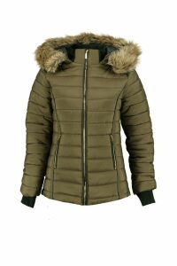 Womens Hooded Crop Bubble Coat - green - L, Green