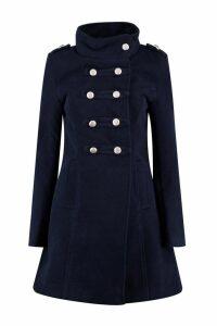 Womens Military Wool Look Coat - navy - M, Navy