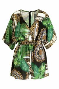Womens Jungle Scarf Print Kimono Sleeve Playsuit - black - 8, Black