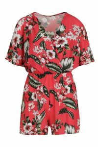 Womens Tropical Print Flute Sleeve Playsuit - red - 8, Red