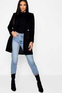 Womens Double Breasted Wool Look Coat - black - 10, Black
